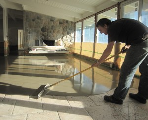 A concrete overlay can be applied directly over existing flooring, such as tiles (pictured here)