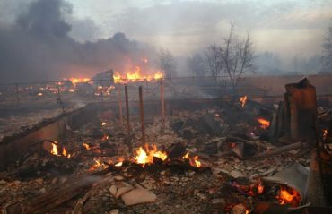 SLAVE LAKE, ALBERTA: May 15, 2011 - This ressidential home burned to the ground in the town of Slave Lake on May 15, 2011. An wildfire swept through the town, burning down about one third of the buildings. (Photo by Shane O'Brien)