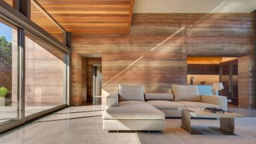 Rammed earth is not only a sustainable building process, it has the added feature of being visually dramatic
