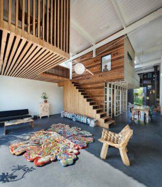 The architect's own remodeled coach house ('House of Rolf') is built entirely from materials from a demolished building next door, including the furniture!