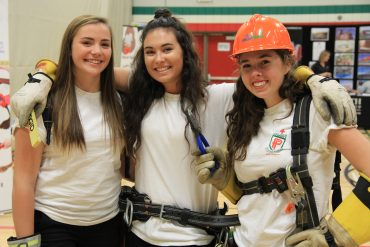 Grade 12 students Jaimie, Julia and Bridgette are considering the trades after graduation, maybe as a stepping stone to further professional degrees