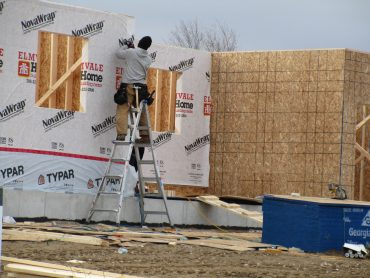 A 2x6 frame, OSB sheeting, and some house wrap; it's still the way most houses are put together today (photo: John Bleasby)