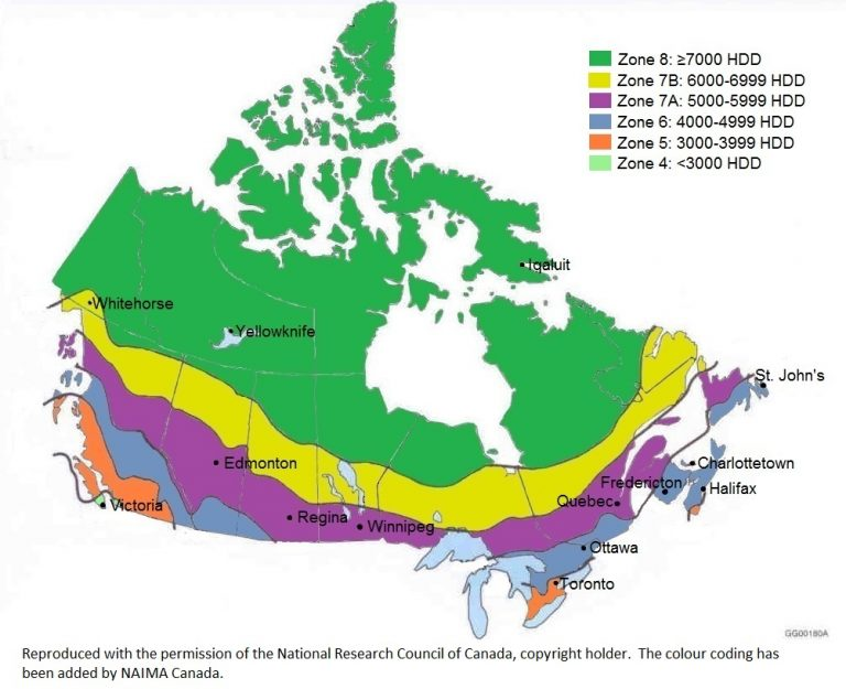 Map Of Canada Colour Coded NECB map colour coded 768×625 | Canadian Contractor