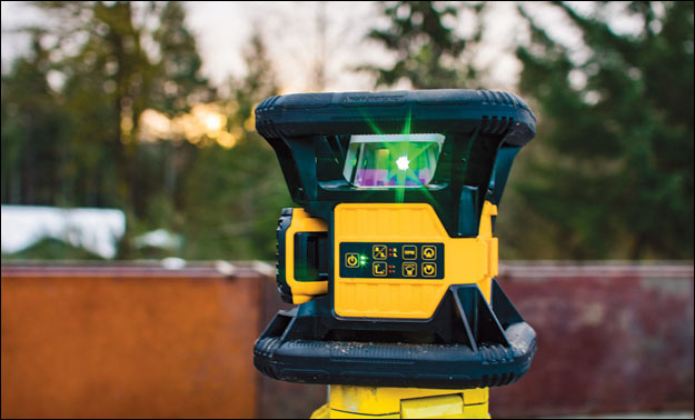 Green lit: Our three testers all liked the highly visible green light that the DeWalt 20V rotary laser uses and the orderly, stackable case it comes in.