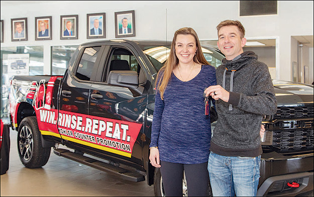 Keys please: David and Rachel Roberts with the 2019 Chevy Silverado they won in a contest held by Kohler Canada.